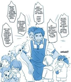 Anime/manga: Kuroko no Basket Character: Aomine, he would seriously fail as a kindergarden teacher. Kuroko No Basket, Haikyuu, Funny Kid Fails, Funny Kids, Happy Tree Friends, Anime Boys, Aomine Kuroko, Akashi Seijuro, Vocaloid