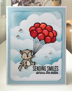 Card critters fox sky clouds balloon balloons Mama Elephant Up and away stamp set, MFT cloud stencil Die-namics - JKE Card Tags, I Card, Cloud Stencil, Mama Elephant, Mft Stamps, Sky And Clouds, Stencils, Balloons, Fox