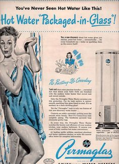 vintage pinup shower bathroom 1946 advertisement by FrenchFrouFrou, $12.95
