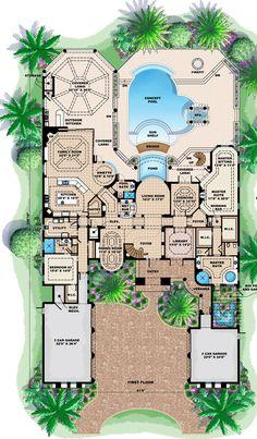 First Floor Plan of Florida   Mediterranean   House Plan 60479