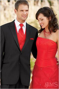 Cute... if you did red dresses and red under tuxes you just gotta have them match.