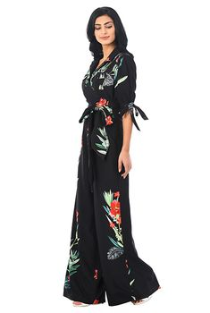 9e91fbef0dc I  lt 3 this Tie sleeves botanical print crepe jumpsuit from eShakti  Dressed To Kill
