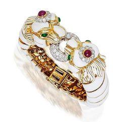 An enamel diamond, ruby and emerald bangle bracelet by David Webb