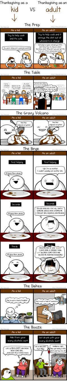 Thanksgiving as a kid vs. Thanksgiving as an adult. | The Oatmeal #Thanksgiving