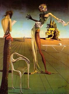 This is a painting done by Salvador Dali.  Dali was a Spanish artist and Surrealist icon. Most of his paintings were inspired by his dreams and the subconscious mind. He used a technique influenced by Renaissance artists and juxtaposed it against the strange hallucinatory characters he created.
