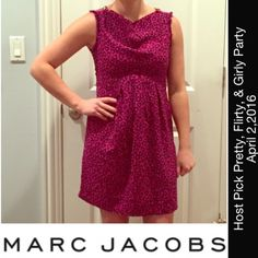 Marc Jacobs Hearts Pink Dress Sz 6 Marc Jacobs pink dress with an all over heart pattern. Sleeves have been removed and need to be sewn, but easy to repair and make into a sleeveless with shoulder zippers. Zipper on the side to get on/off. So cute! Excellent condition. Marc by Marc Jacobs Dresses