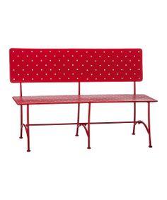 Red & White Polka Dot Metal Bench