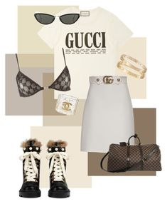 """""""gucci babe"""" by miefjenner ❤ liked on Polyvore featuring Gucci, Cartier, Chanel and Linda Farrow"""
