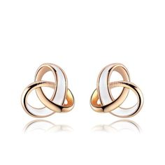 - 18 K Real Rose Gold plated 3 ring enamel ear studs. Environmentally friendly. Lead, Nickel and Cadmium free.