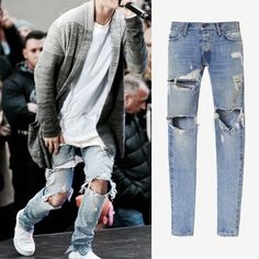 34.39$  Watch now - http://alinfa.shopchina.info/go.php?t=32806455711 - HUIHONSHE Justin Bieber Fear of God Best Version FOG Men Selvedge Zipper Destroyed Tour Pants Skinny Jeans Blue Jeans Slim Fit  #buychinaproducts