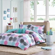 Carly in Pink, Teal, Purple and Black Comforter Sets by Mizone