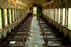 Abandoned passenger train car