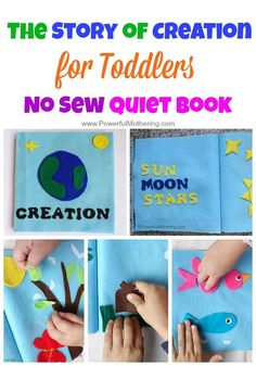 Tell the Story of Creation in this no sew Quiet Book for toddlers. Many interactive pages that are themed to the days of creation.