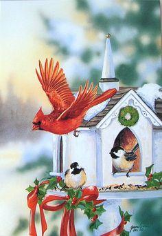 Leanin' Tree Janene Grende Cardinal Chickadee Bird House Christmas Greeting Card
