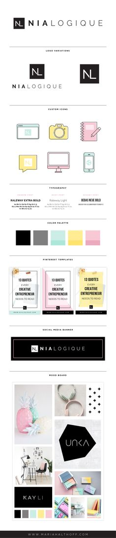 Logo and branding design – color palette, typography, social media templates, custom designed icons, mood board, logo variations