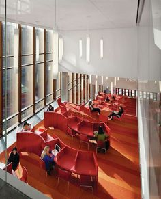 "The Diana Center, designed by New York–based Weiss/Manfredi for Barnard College, is a third-floor oasis — created with ""urbanism, architecture, landscape, and social life"" in mind. We love the beautifully lit wave of crimson tables"