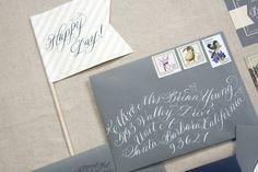 Modern Calligraphy Wedding Stationery | photography by www.beauxartsphoto.com