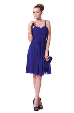 Spaghetti Straps Shirred Bust Sweetheart Blue Cocktail Dress