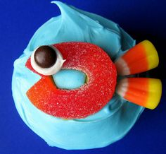 Candy Fish cupcake. They would be really cute on a platter with brown sugar for sand.