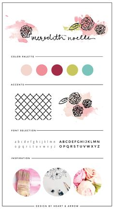 Meredith Noelle Blog Brand Board // floral painted logo design