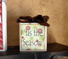 Tis the Season Christmas wood block with paper and vinyl