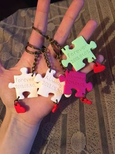 Polymer clay handmade homemade keychain puzzle pieces