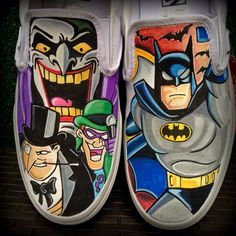 Painted Sneakers, Hand Painted Shoes, Custom Vans Shoes, Custom Sneakers, Hype Shoes, On Shoes, Batman Shoes, Funny Shoes, Creative Shoes