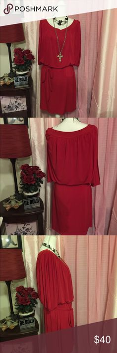 Enfocus Women Dress New Without Tags (18W) Enfocus Women Dress New Without Tags Very Classy & Elegant Size: 18W Style: Tunic Dress Sleeves: Cold Shoulder Design Color: Absolutely Stunning Fire Engine Red Length: Right Past Mid-Thigh  PLEASE NOTE: JEWELRY NOT INCLUDED or For Sale; used only to display dress for pictures. Enfocus Women Dresses