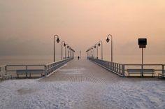 Winter  in Poland. Gdynia-Orlowo. Winter Polish Sunrise.      Temperature:  -17 st. C