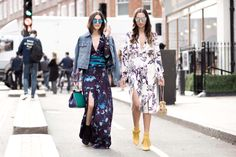 Blogger #anisasojka styles the Matthew Williamson AW15 blue mystical folk chiffon long sleeve gown with a denim jacket and Gabriela Fones pairs the horoscope etching top and midi skirt with yellow fringed Bionda Castana ankle boots during London Fashion Week. Street style photography by Andreea Bogdan #LFW #ohMW