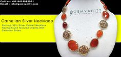 Buy Carnelian Silver Necklace With Carnelian Slices From Gem Vanity