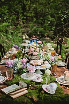 Forest & Moss inspired High Tea table setting