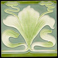 Art Nouveau tile, Vileroy & Boch, mettlach, Tile 905006
