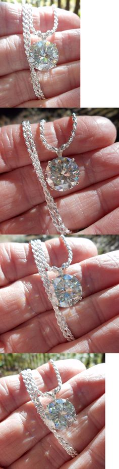 Synthetic Moissanite 110800: Moissanite Pendant W 18 Chain 925 Silver 6.30 Ct Fiery White I-J 12.30 Mm Vvs1 -> BUY IT NOW ONLY: $169.15 on eBay!