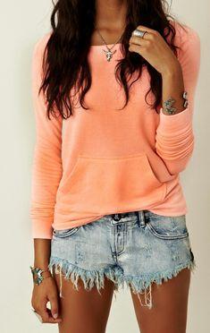 Orange Sweater. Jean Shorts. Teen Fashion. By-Lily Renee♥ follow (Iheartfashion14).