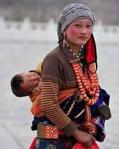 Tibet woman and child