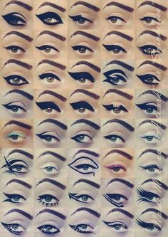 Eye Liner inspiration  love cats eye look - you'll go crazy for this inspiring poster! soooo many variations to try out :) God I love make-up!