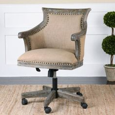 Beige Linen Upholstered Hardwood Swiveling Desk Chair with Nailhead Trim Farmhouse Office Chairs, Home Office Chairs, Home Office Furniture, Desk Chairs, Brown Leather Recliner Chair, Leather Chairs, Diy Home, Home Decor, Composite Adirondack Chairs