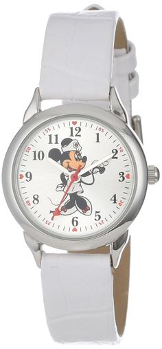 Disney Women's  Minnie Mouse Nurse White Strap Watch for the Pediatric nurse in your life, . So cute!