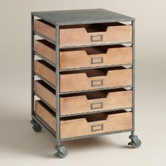 One of my favorite discoveries at WorldMarket.com: Wood and Metal 5-Drawer Frederick Rolling Cart