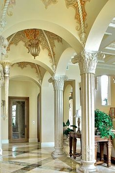 Vaulted ceiling in interior design is not a novelty. By definition, the vault is an arched form of a ceiling or roof which is used in architecture to Ceiling Art, Ceiling Design, Ceiling Color, Vestibule, Flur Design, Palace Interior, World Decor, Hallway Designs, Architecture