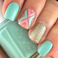 girly, #pastel spring #nailart with mint, pink & gold @glittr