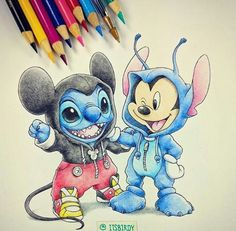 Stitch and Mickey Mouse