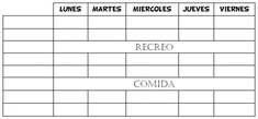 Plantilla de horario escolar simple