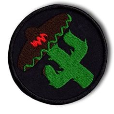 "[Single Count] Custom and Unique (3"" Inch) Rounded Imperfect Vibrant Sable Jade Sombrero Wearing Cactus Punk Anarchist Circular Shaped Iron On Embroidered Applique Patch {Black & Green Colors}"