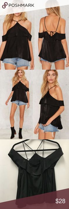 Nasty Gal Neve Satin Top Drape yourself in satin. The Neve Top is made in black satin and features a cold shoulder design, relaxed silhouette, and strappy detailing. Unlined. By honey punch. Brand new boutique item. Sold out at Nasty Gal   *Rayon/Polyester  *Runs true to size  *Model is wearing size S  *Hand wash cold  *Imported Nasty Gal Tops