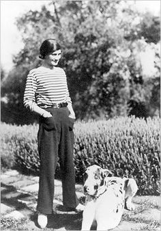 Coco Chanel in her stripes... and a Great Dane!