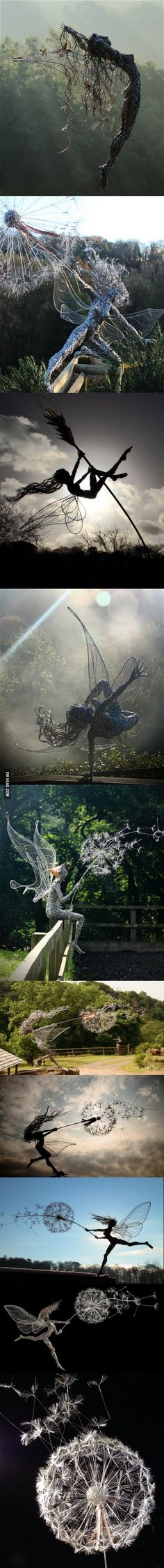 Fantasy fairies wire sculptures by Robin Wight Fantasy Wire, Foto Fantasy, Fantasy Fairies, Land Art, Wire Sculptures, Sculpture Art, Abstract Sculpture, Bronze Sculpture, Robin Wight