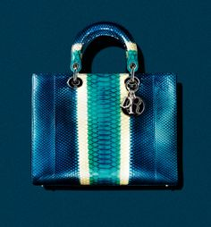 "DIOR  Large ""Lady Dior"" top-handle bag in turquoise/navy gradient python with silver hard"