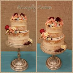 Naked wedding cake with flowers https://m.facebook.com/simplycakes.brittneyshiley/